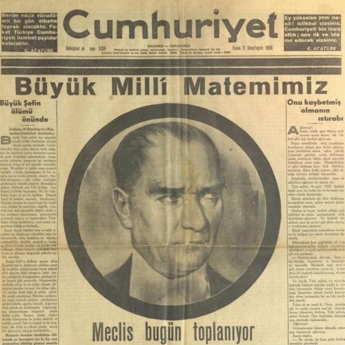 İstanbul Şehir Üniversitesi'ndeki Taha Toros Arşivi'nden 10 Kasım Sonrası Gazete Manşetleri